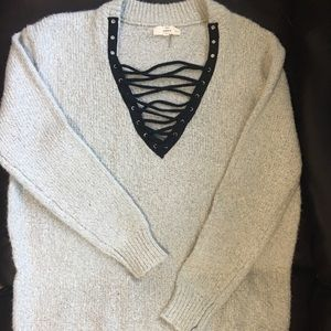 Sweaters - Boutique Lace Up Oversized Sweater